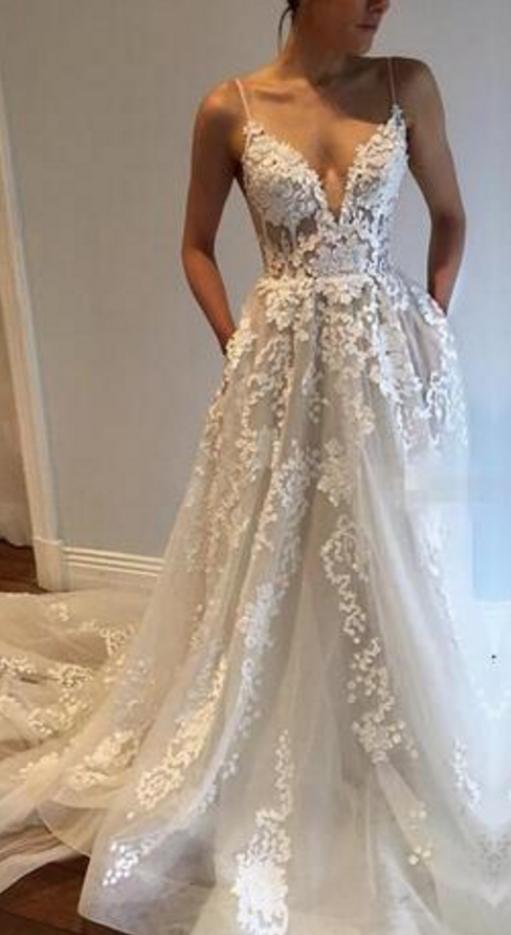 Sexy Spaghetti Strap Chapel Train Beach Wedding Dresses