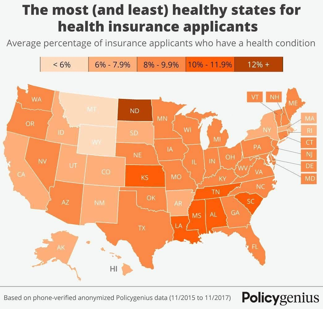 The Most And Least Healthy States In America Life Insurance Companies Life Insurance Policy Life Insurance Facts
