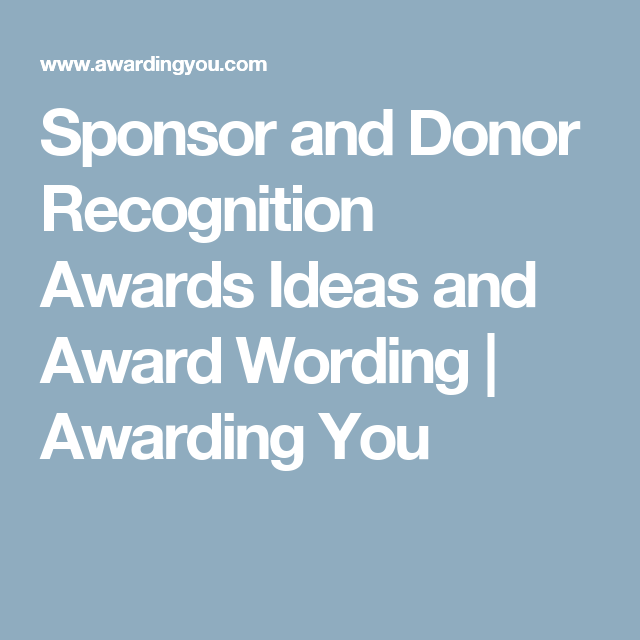 Sponsor and Donor Recognition Awards Ideas and Award ...