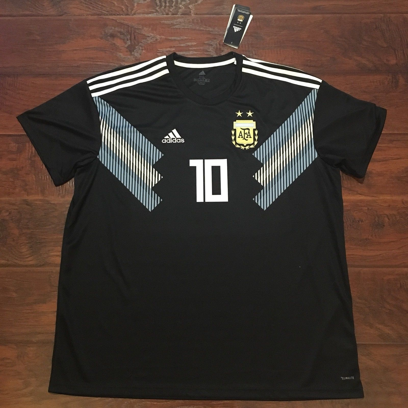 2018 Argentina Away Jersey 10 Messi Xl Adidas World Cup Soccer Fashion Big Size T Shirt 2xl Football New Discount Price