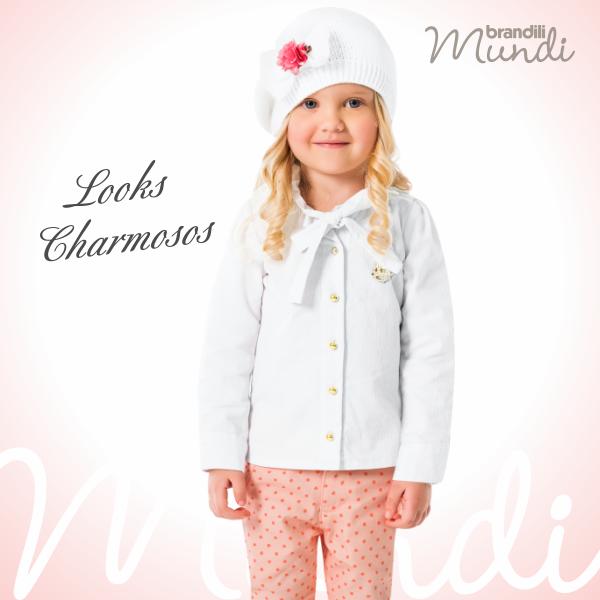 #LookBrandili de muito amor <3 A calça sarja ganha destaque com estampa fofinha de poá. Um encanto de look para momentos especiais.   #modainfantil #brandili #criancaestilosa