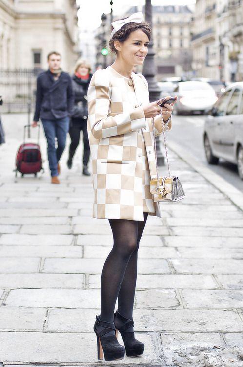 Miroslava Duma looking pleasantly mod in Louis Vuitton. #streetstyle