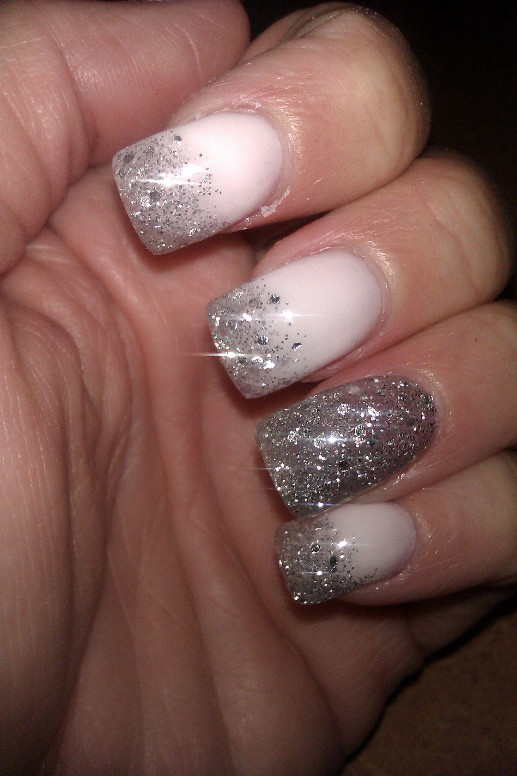 White Nails Silver Glitter Tips Envy Nails Woodbridge Nj The Best How To Do Nails Nails White Nails