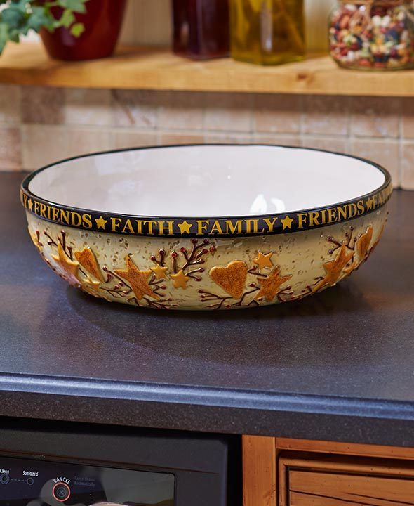 Plastic Decorative Bowls Glamorous Country Kitchen Collection *oversized Serving Bowl* Faith Family Decorating Design
