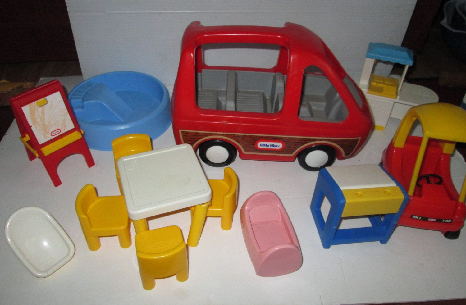 Lot Vintage Little Tikes Dollhouse Furniture Car Pool Table Desk More Doll  House 1980s Retro By Suburbantreasure On Etsy