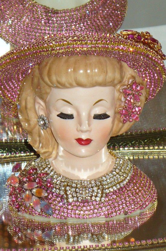 antique victorian lady head vase