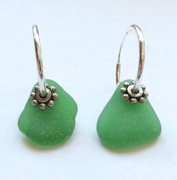 Sea Glass Hoop Earrings Irish Kelly Lime Green
