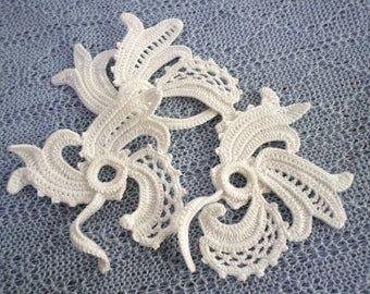Motivi floreali irlandesi in pizzo all'uncinetto, off white flower applique, arredamento all'uncinetto irlandese, arredamento da sposa Set di 3