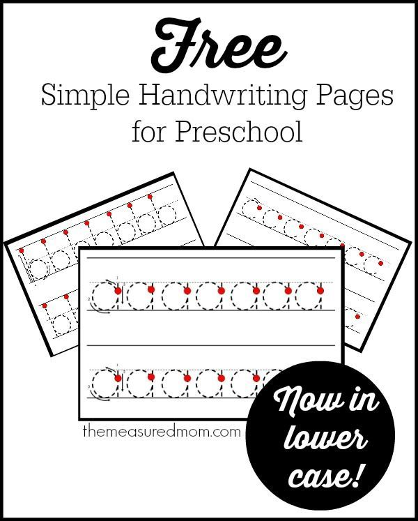 Simple Handwriting Pages For Preschool