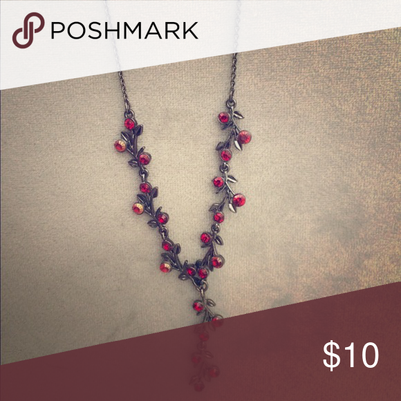 Red necklace Red stones set onto silver chain in a vine/flower pattern Moonsoon UK Jewelry Necklaces