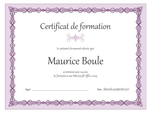 modele certificat de formation word Certificat de