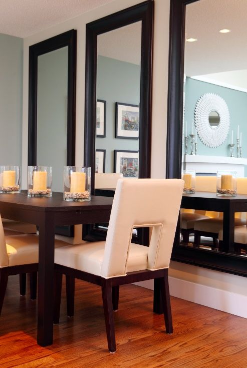 Idea From Designer Maria Killam Large Mirrors Installed So That The Reflection Would Give The Illusion Of Dining Home Mirror Dining Room Dining Room Decor