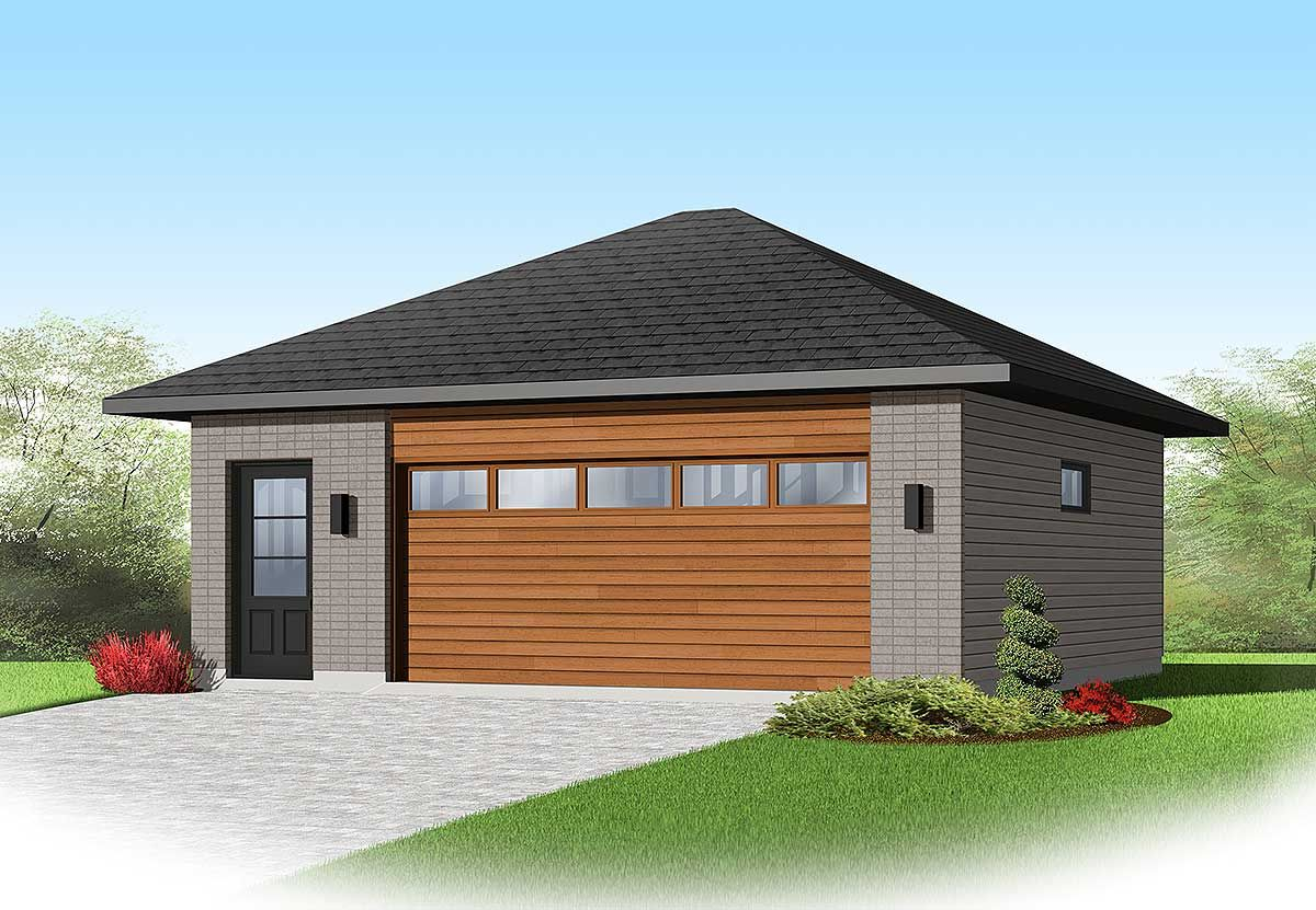 Plan 22345dr Contemporary 2 Car Detached Garage Plan Garage Plans Detached Garage Plan Garage Apartment Plans