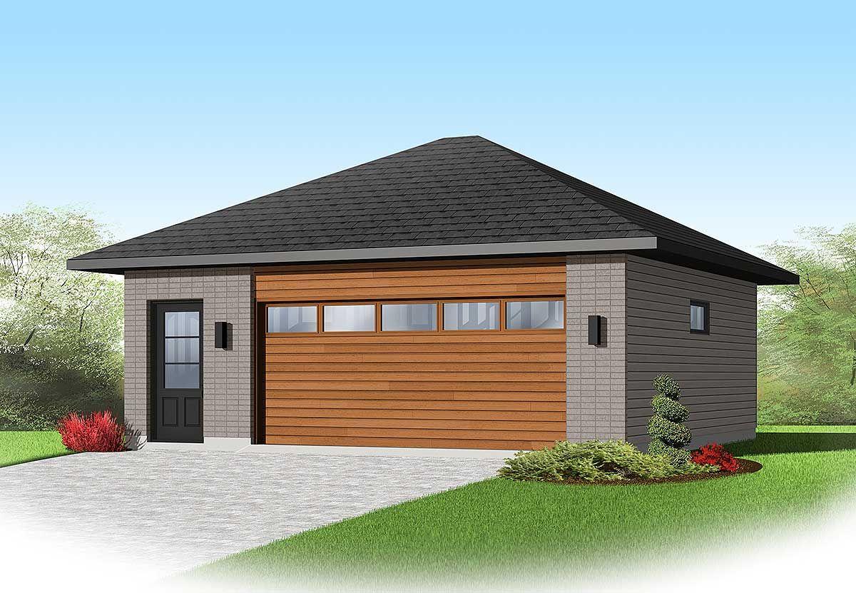 Plan 22345dr Contemporary 2 Car Detached Garage Plan Garage