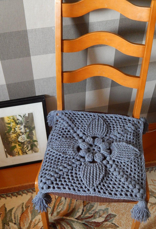 Seat Cushion Crochet Chair Cover Chair Pad Farmhouse Decor By