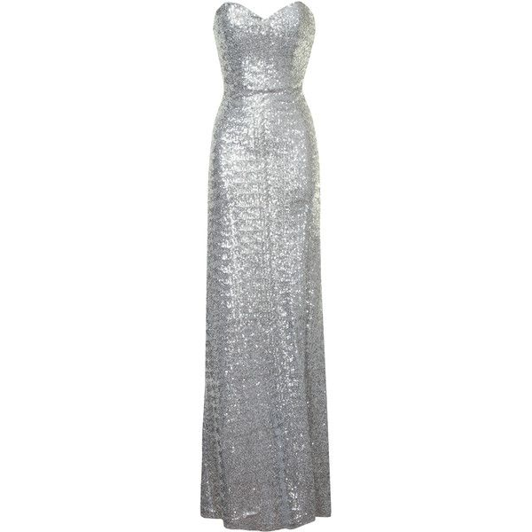 Silver Sequin Sweetheart Neckline Maxi Dress (765 MXN) ❤ liked on Polyvore featuring dresses, gowns, long dress, silver, silver gown, silver maxi dress, sequin evening gowns, evening maxi dresses and sequin gown