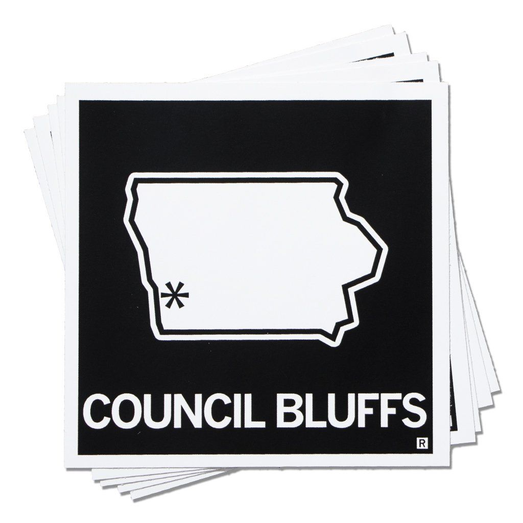 Council Bluffs Iowa Outline Sticker Council Bluffs