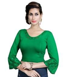 af477fc8ed44f Buy Bottle Green Lycra Solid stitched blouse readymade-blouse online ...