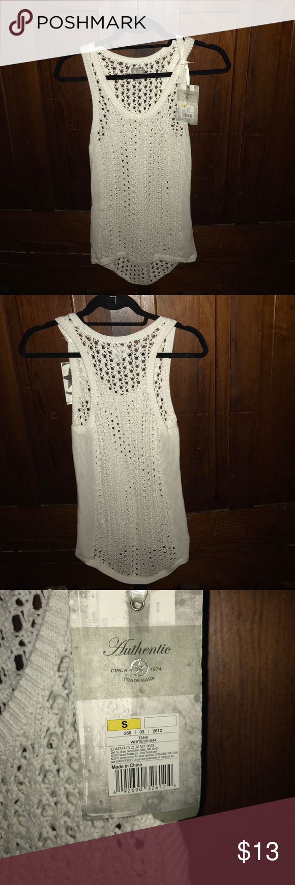 White crochet cover up Brand new, never worn. Got it as a gift but I don't really wear cover ups at all. Converse Tops Tank Tops
