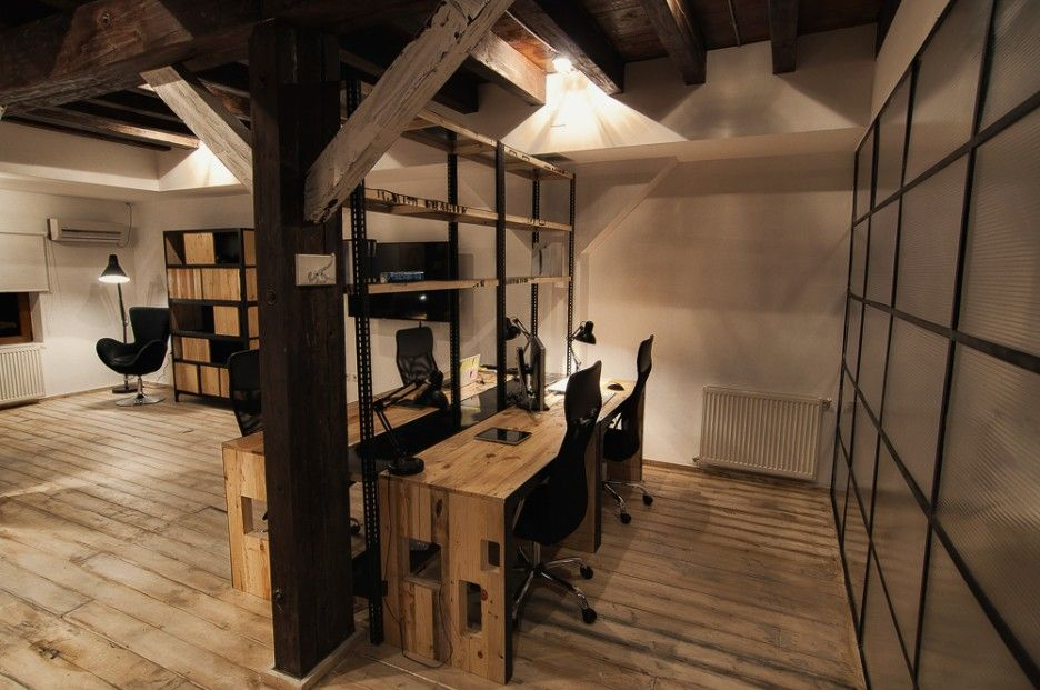 Nice modern rustic office new harbor farm office pinterest modern rustic office rustic Industrial home office design ideas