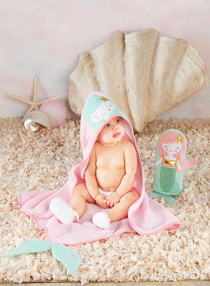 Simply Enchanted Mermaid 4-Piece Bath Time Gift Set | Baby aspen ...