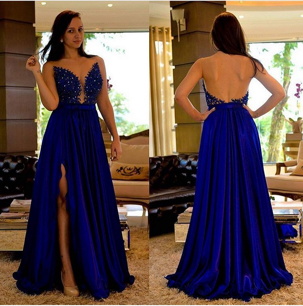 Sexy Backless Prom Dresses,Royal Blue Lace Graduation Dresses,Open