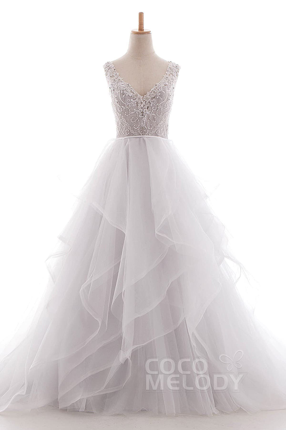 A Line Court Train Tulle Lace Organza Wedding Dress Ld4981 In 2020