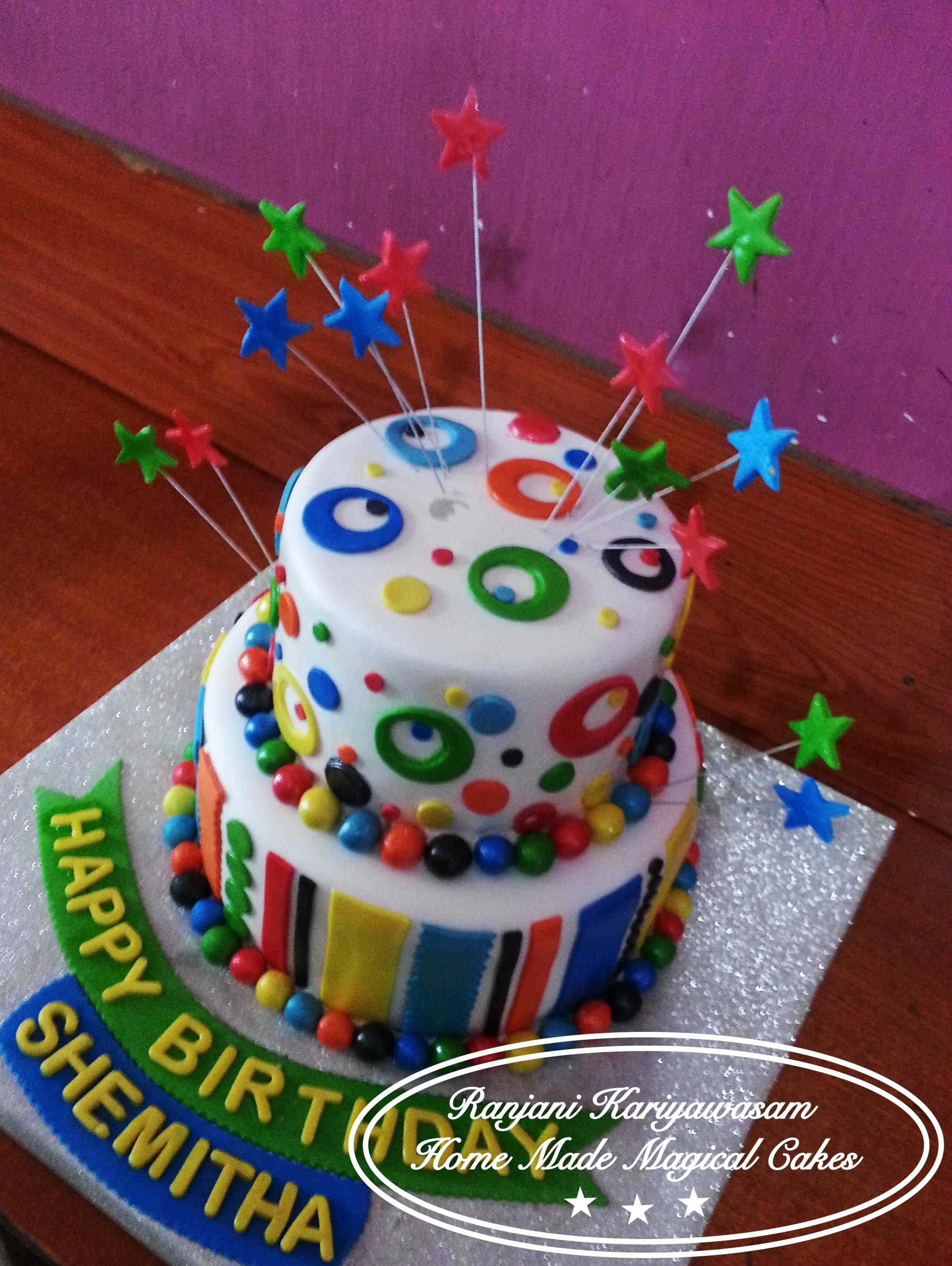 Colorful Two tier birthday cake Done by me and my mom Cakes