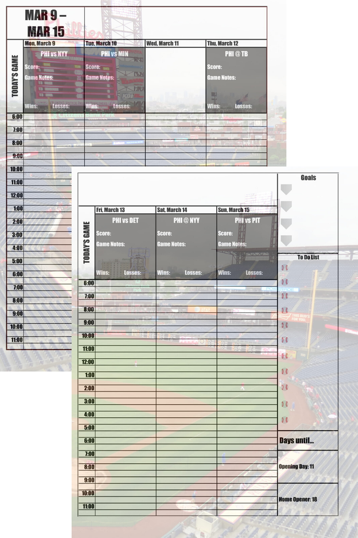 Philadelphia Phillies 2020 Daily Planner Baseball Fan Calendar Printable 8 5 X 11 Instant Download In 2020 Daily Planner Printing Double Sided San Diego Padres