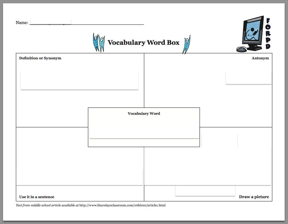 vocabulary graphic organizer templates.html