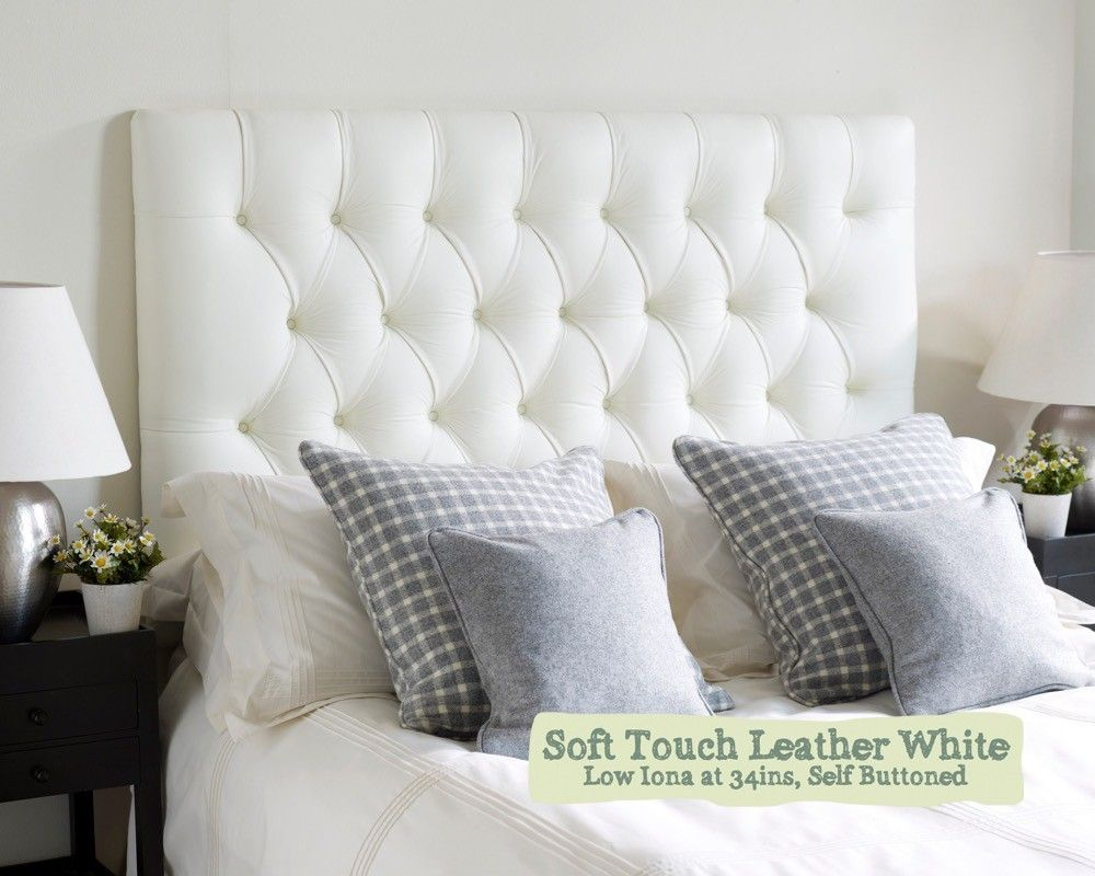 Single Iona Headboard In Soft Touch Leather White
