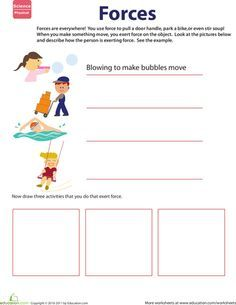 learn about force homeschool ideas second grade science science classroom science worksheets. Black Bedroom Furniture Sets. Home Design Ideas