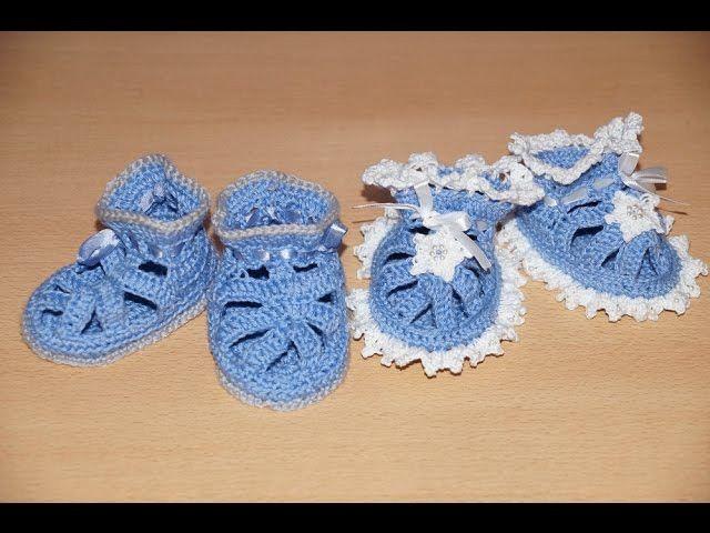 Вязание пинеток крючком  - шаг 2.    Crochet knitting bootees - Step 2 - knitting straps