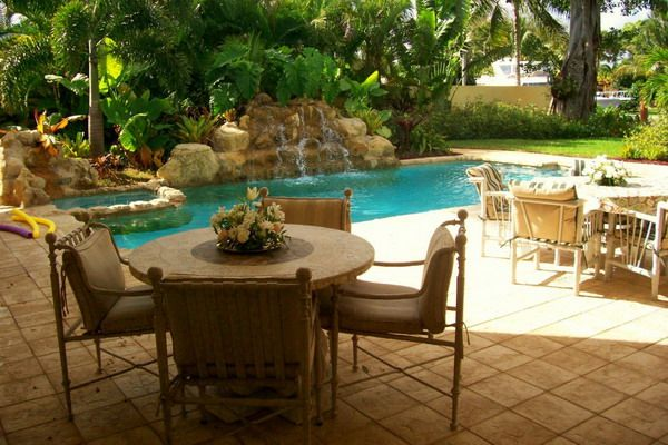 backyard pool and patio - Tropical Patio Ideas