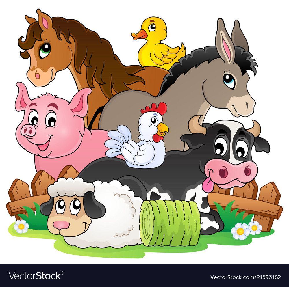 Farm animals topic image 2 vector image on VectorStock