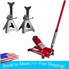 Photo of 3 Ton Low Profile Floor Jack and Jack Stands Set Steel Hydraulic Car Jack Lift