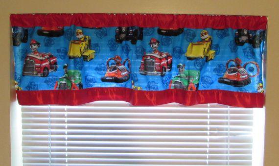 Paw Patrol curtains/cotton valance/red satin edge