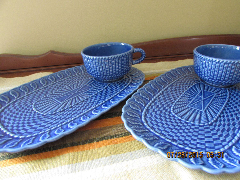 Vintage Snack Set - Bordallo Pinheiro Basketweave Pattern - Blue Majolica Snack Set - Tea and Coffee sets by mimishomefashions on Etsy