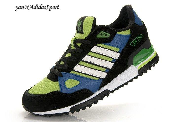 cheap for discount 27046 1ea3c Adidas Originals ZX 750 Hombres Zapatillas de Running Negro Blanco Verde  Azul Baratas Outlet Online