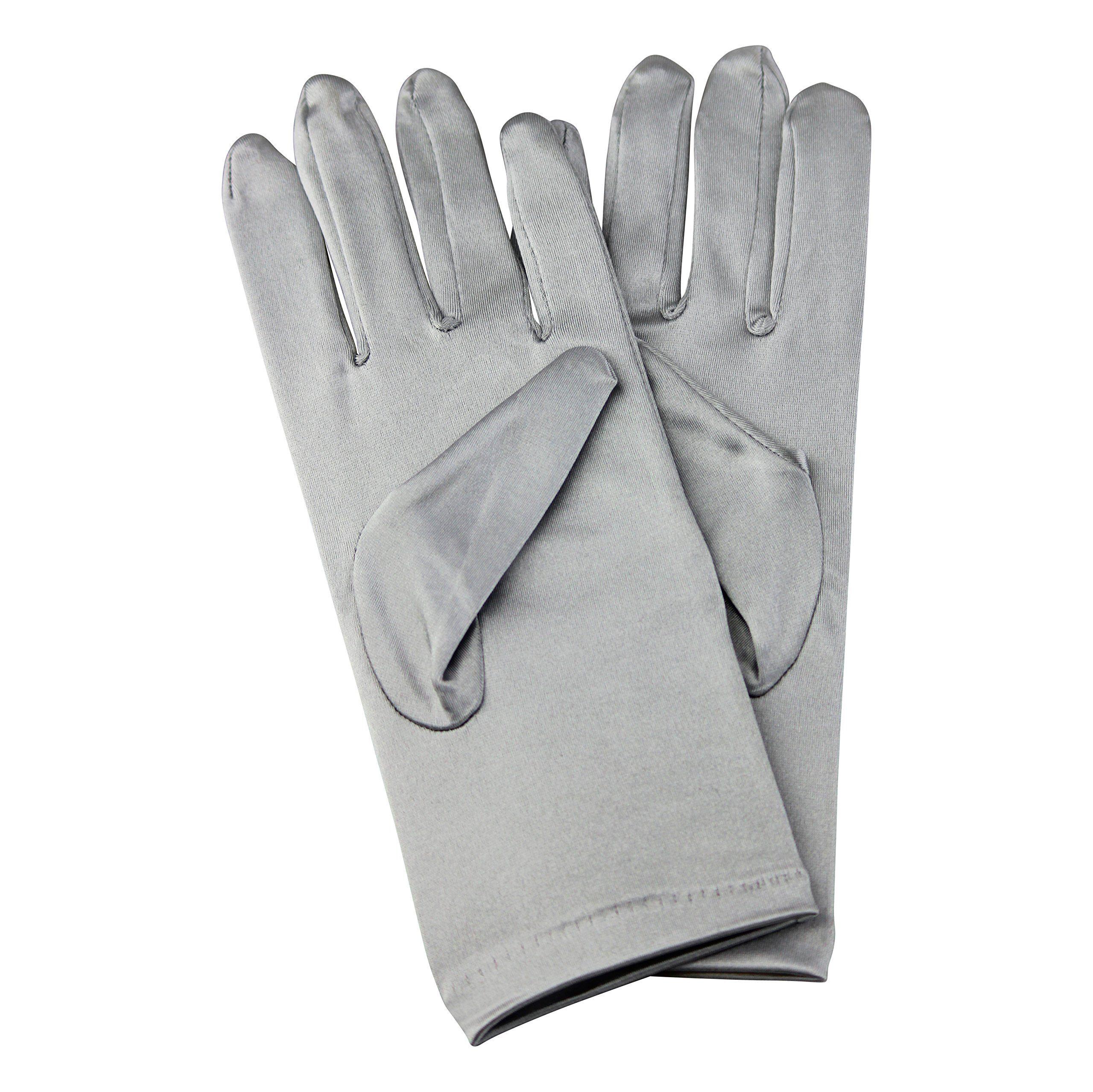 Halloween Fancy Bridal Satin Gloves Wrist Length 2 BL (Silver)