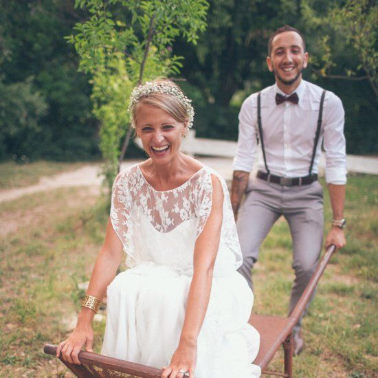 A bohemian destination wedding in France with the Bride wearing a Rime Arodaky lace gown & high street Zara dress! Love, fun & frolics