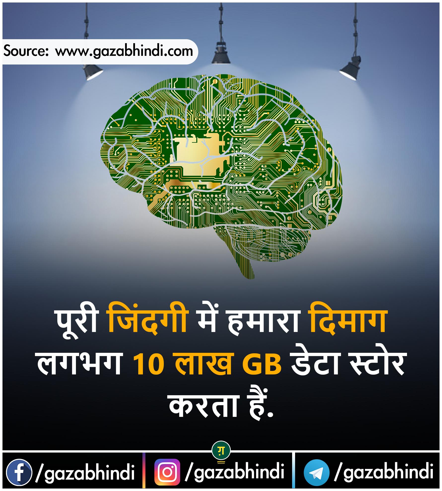 Dimag दिमाग के बारे में 35 रोचक तथ्य । Brain In Hindi