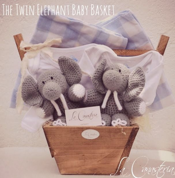 Canasta De Recien Nacido.The Twin Elephant Baby Basket Baby Shower Gift Ideas