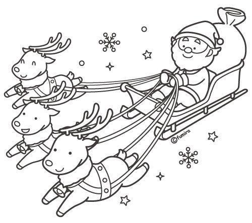 サンタクロースとそりをひくトナカイのイラスト カラー クリスマス 塗り絵 サンタクロース そり イラスト