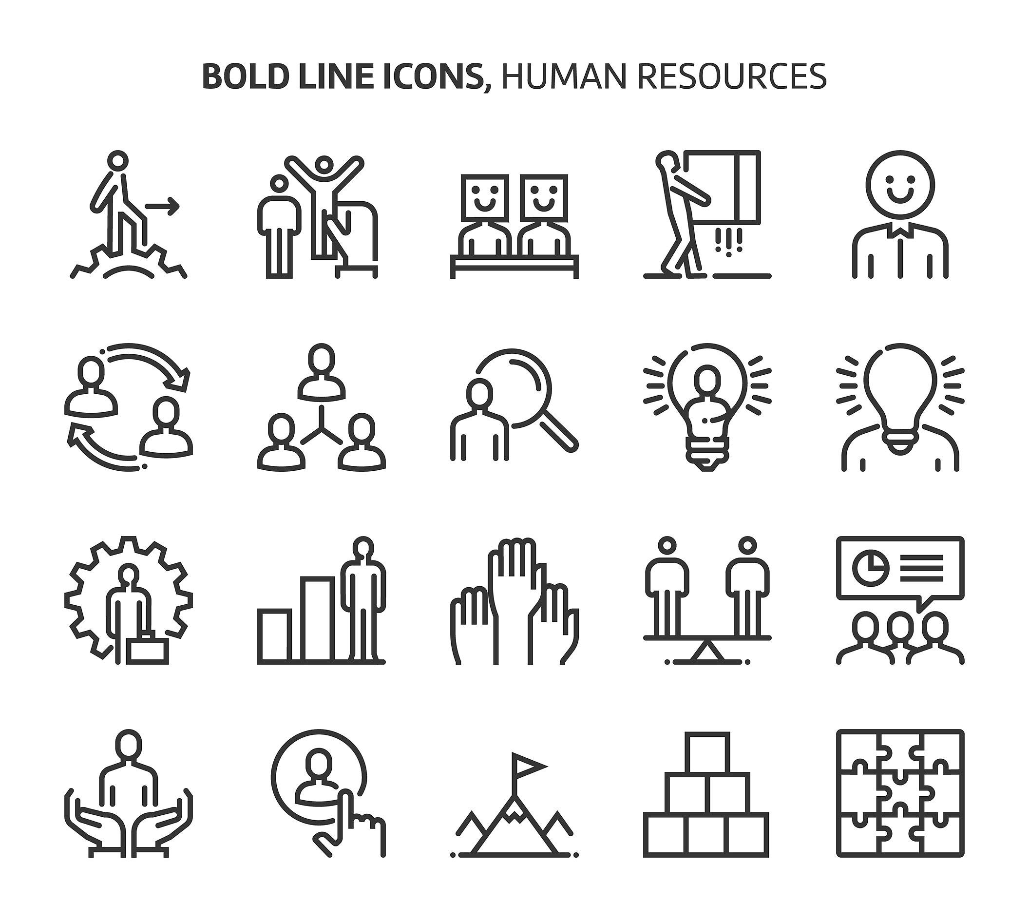 Bold Line Icons Line Icon Human Resources Icon