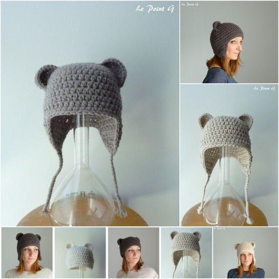 Patron Bonnet simple ou péruvien à oreilles d ours disponibles en taille  bébé enfant adulte au crochet patron de crochet accessible au debutant 78e1a1e0205