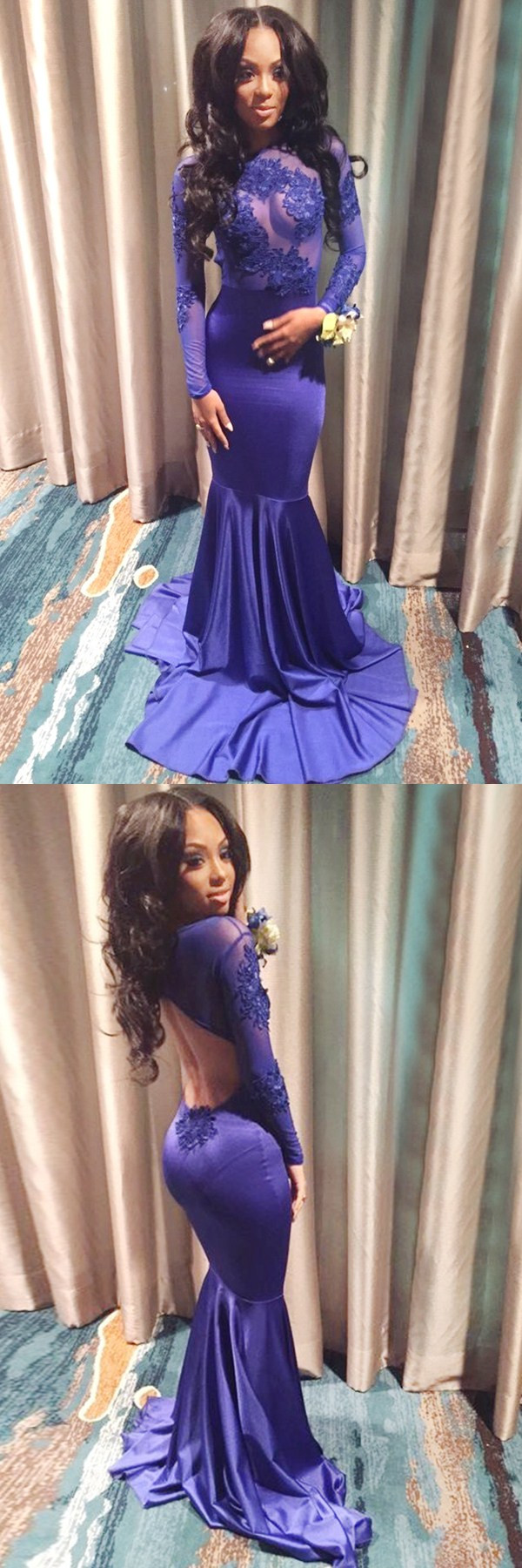 Prom dresses long levees open back purple dresses fashion