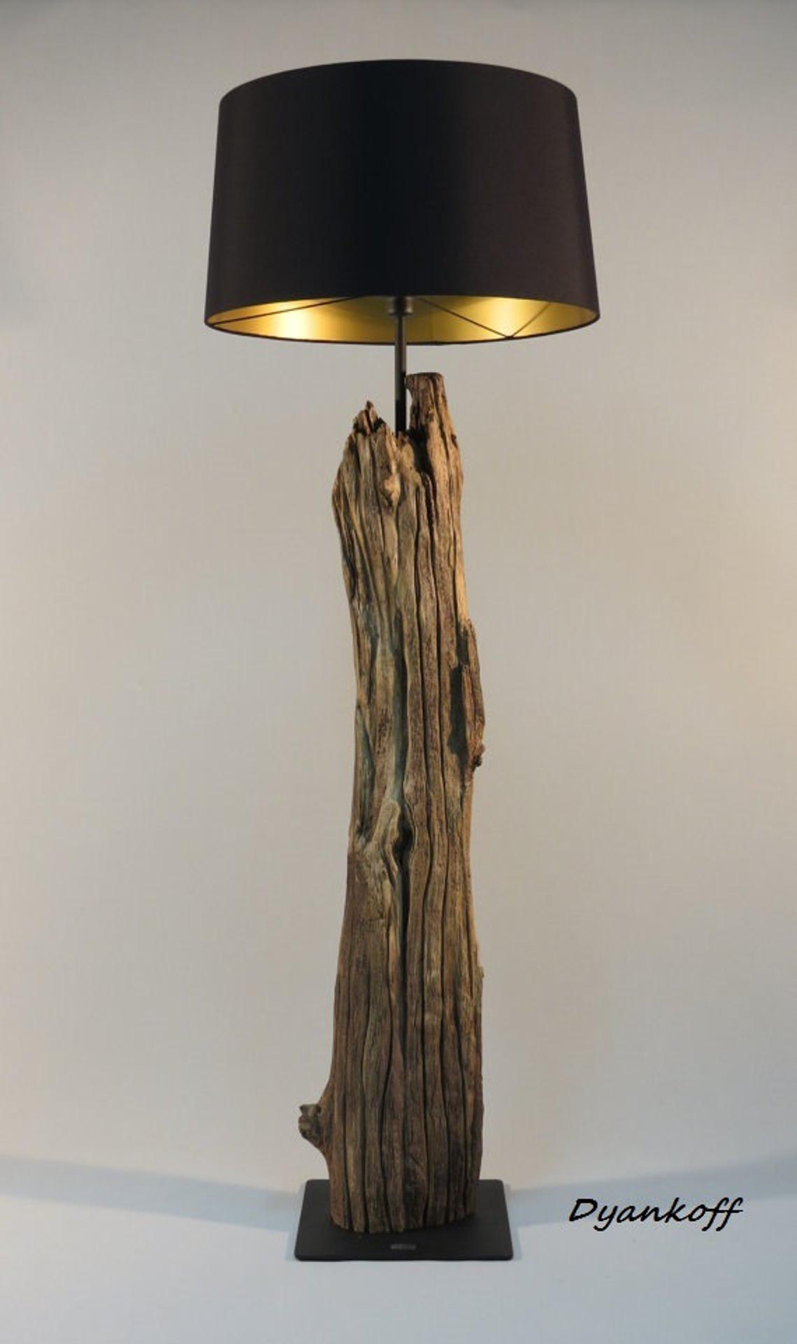 Ooak Handgemaakte Vloerlamp Art Houten Staan Drum Lampenkap