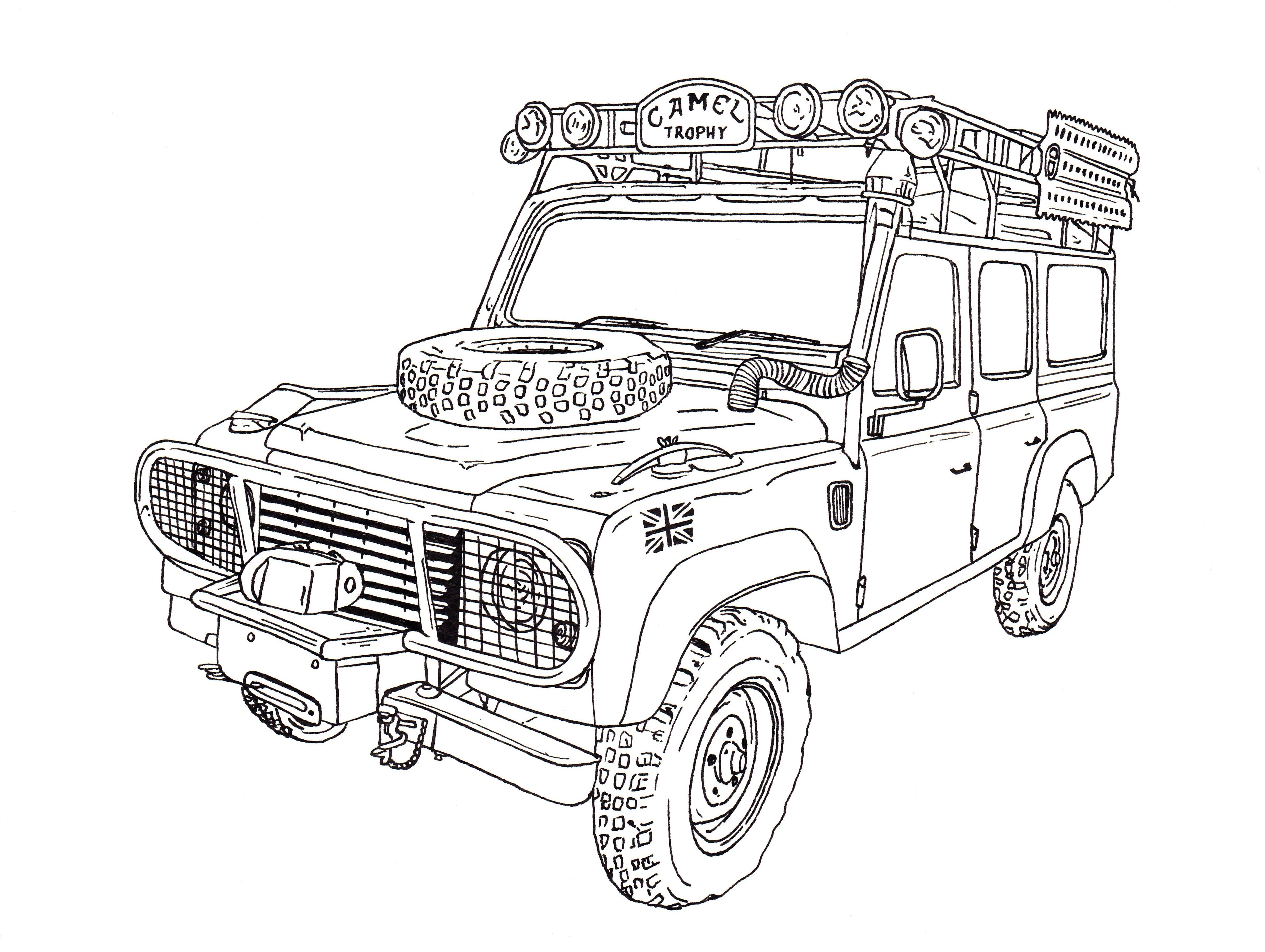 Camel trophy land rover defender 110 ink drawing