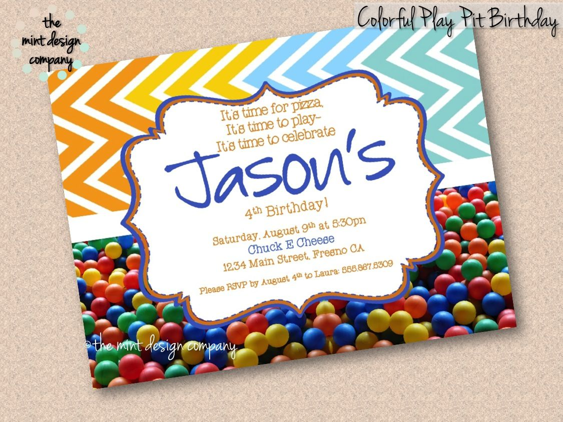 e73caaf2977e This colorful ball pit birthday party invitation is perfect for Chuck E  Cheese